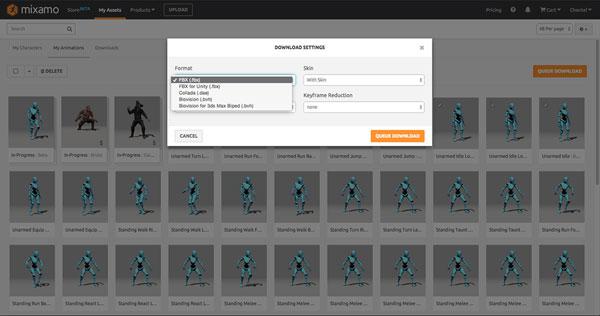 Bulk download assets and set export preferences.