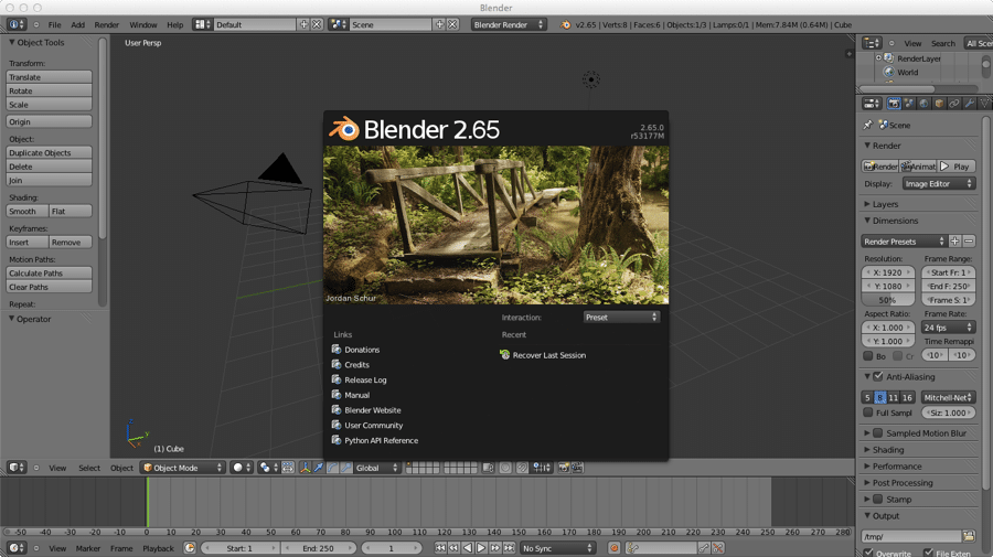 Blender Start Screen