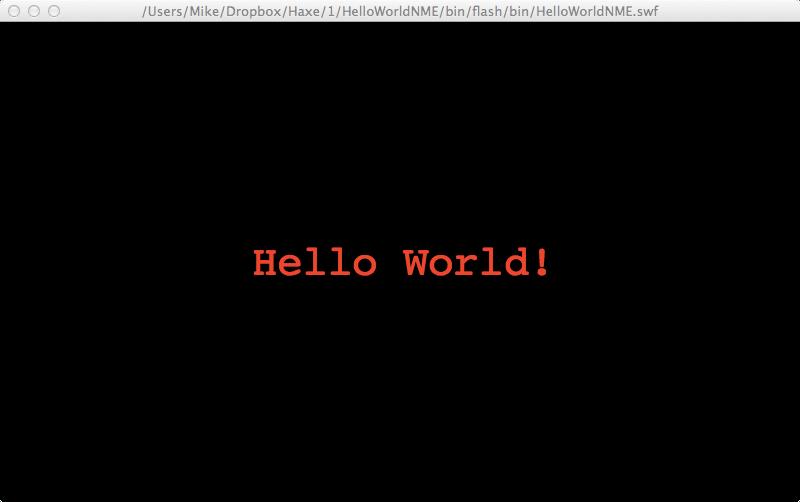 Hello World Haxe FLash