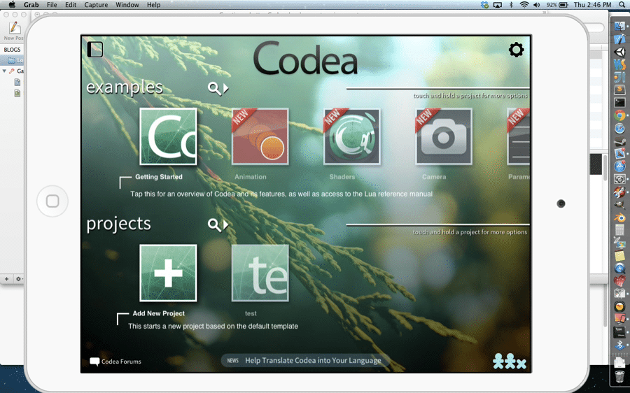 Codea over airplay