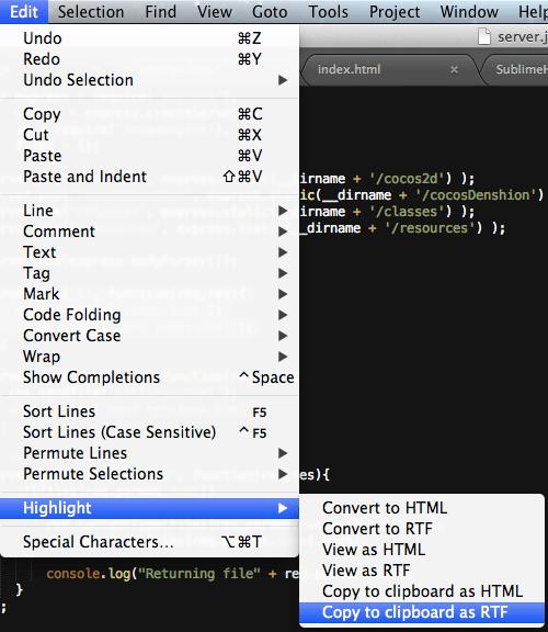 Sublime Text edit menu