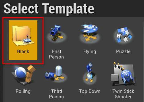 Select Unreal Engine template