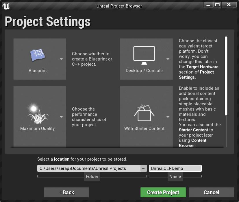 Configure UE4 project type