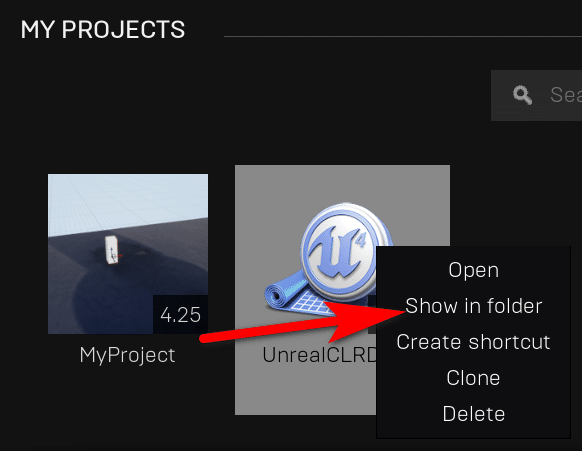 My Projects in UE show in folder