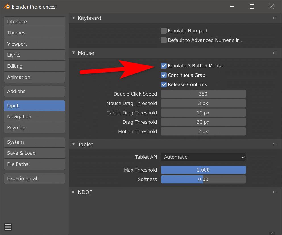 Blender Emulate 3 button mouse