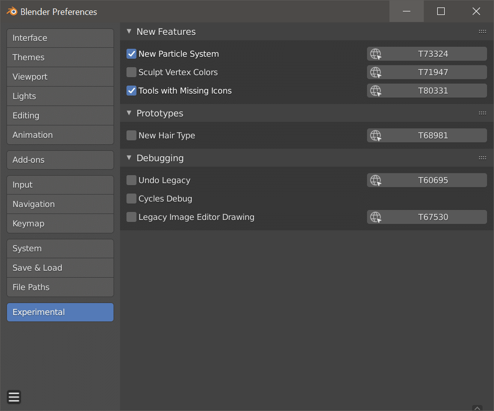 The Experimental features in Blender