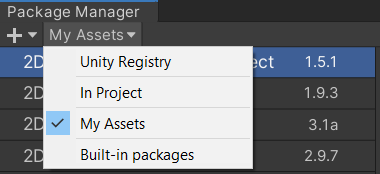 Package Manager My Assets selection in Unity