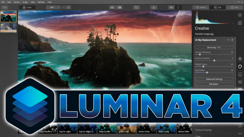 Luminar 4 AI Powered Image Management Software