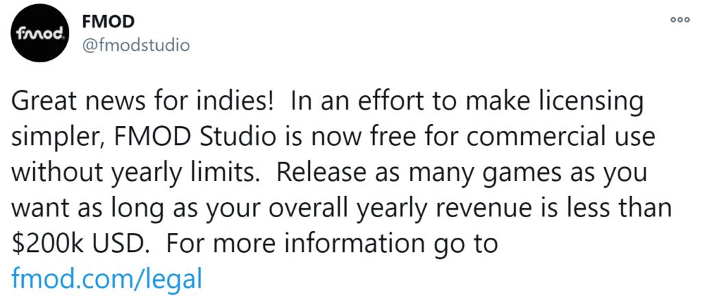FMOD Free indie license tweet.