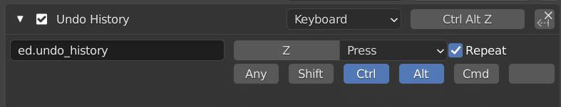 Configuring Undo History from Ctrl Alt Z