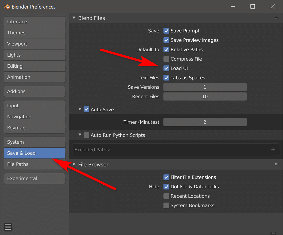 Disabling Load UI on Blend files in Blender