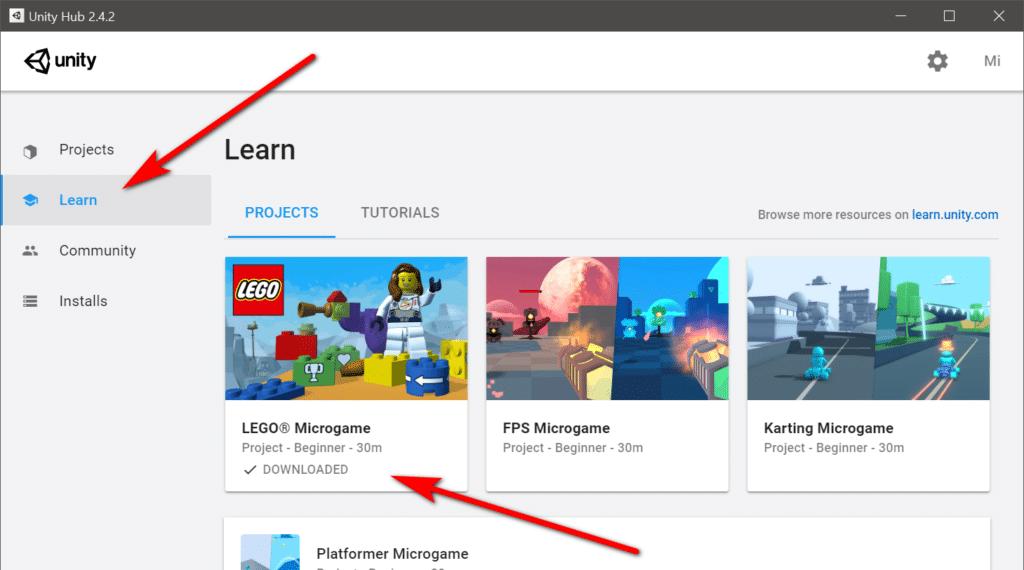 Unity Lego microgame template