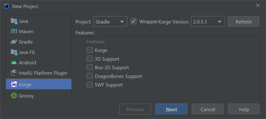 Creating a new Korge project