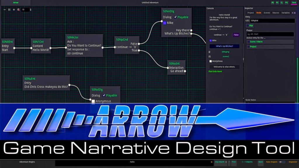 Arrow Game Design Narrative Tool for Game Dailogs