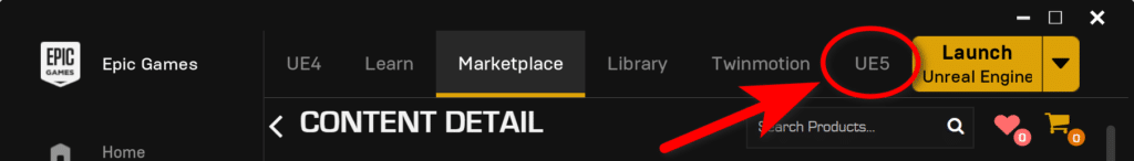Unreal Engine 5 in the Epic Games Launcher